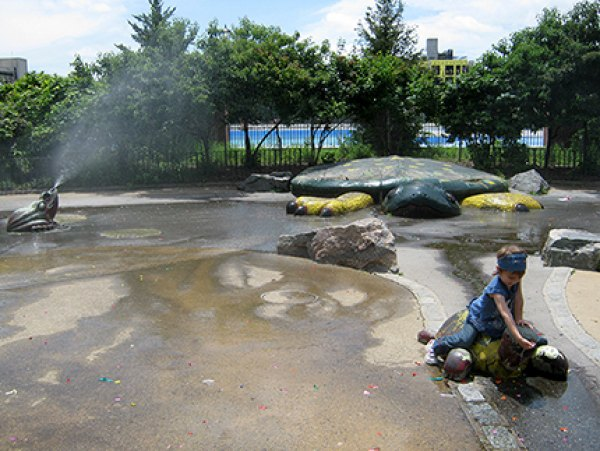 Sprinklers at the Vincent V. Abate Playground