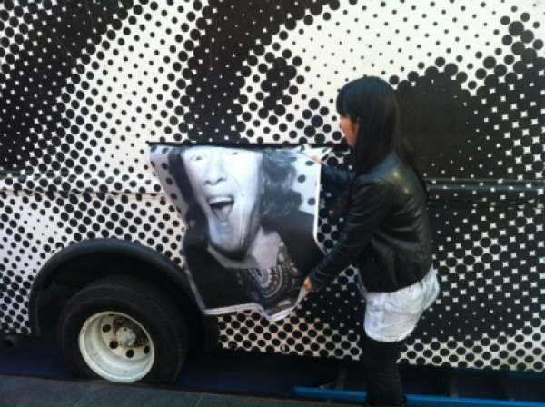 The Inside Out truck is a mobile photo booth that prints out gigantic black-and-white portraits