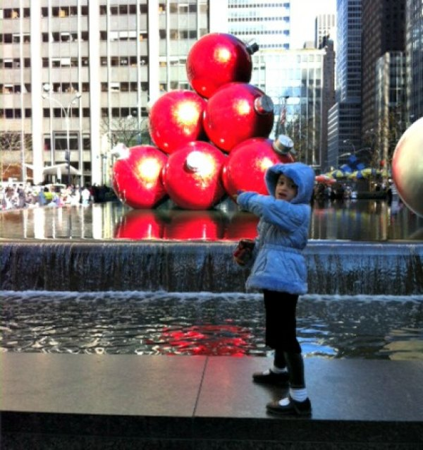 Holiday decorations abound on Sixth Avenue near Radio City Music Hall