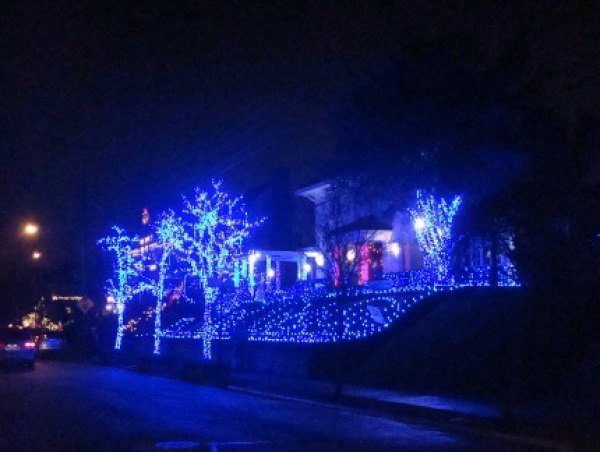 The owner of the Blue Christmas House in Bay Ridge married a Jewish woman,<br/> hence the nontraditional color of the lights