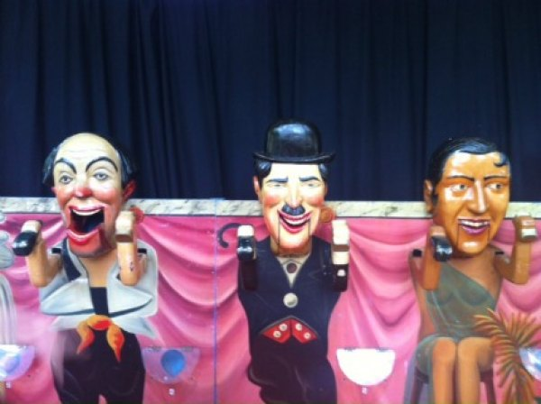 The Music-Hall Ball Guzzler carnival game from 1934 features period stars like Charlie Chaplin and Josephine Baker