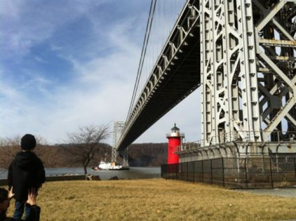 The Little Red Lighthouse up close and in person under the George Washington Bridge