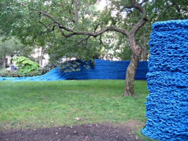 Orly Genger's walls of color undulate throughout Madison Square Park