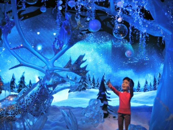Macy's windows depict a child's imaginary winter wonderland