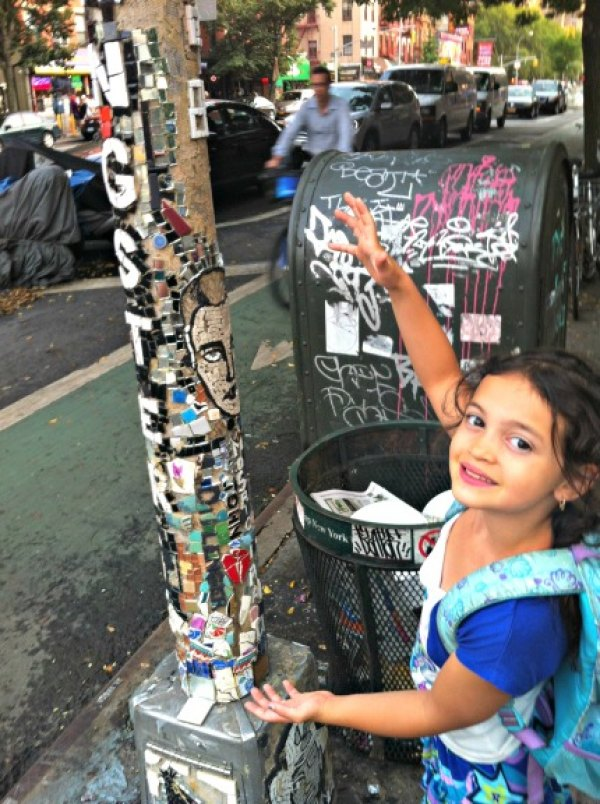 Look for eye-catching mosaics on or around St. Mark's Place, all designed by Jim Power