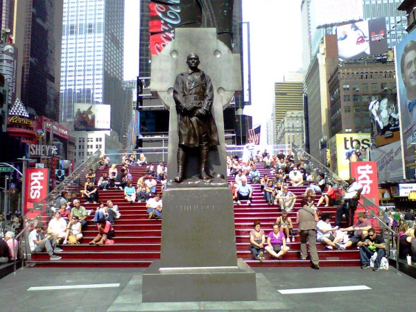 The red bleachers behind the TKTS Discount Booth are a great place to picnic in Times Square