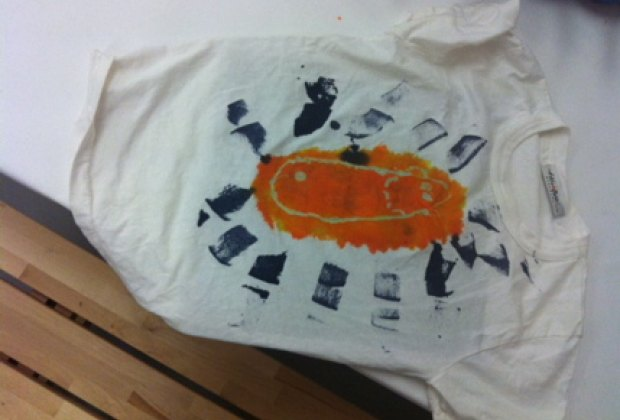 My son's T-shirt, ready for background dyeing by the store's staff